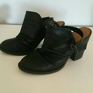Black, open back, boot w/heel